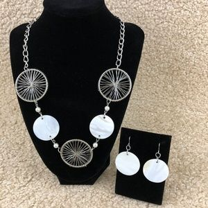 Jewelry - Silver-Toned Chunky Necklace and Dangling Earrings